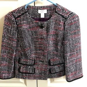 Ann Taylor Loft 3/4 Sleeve Tweed Blazer Jacket 0P